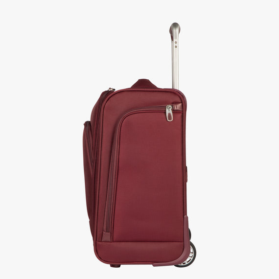 Small Carry-On Seahaven 16-inch Rolling Tote in Currant Side View in  in Color:Currant in  in Description:Side