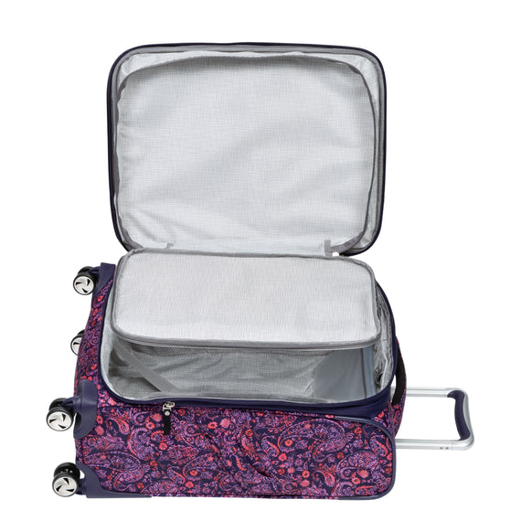 Carry-On Seahaven 20-Inch Carry-On Suitcase in Pink Paisley Alternative Open View in  in Color:Paisley Pink in  in Description:Extra Open View