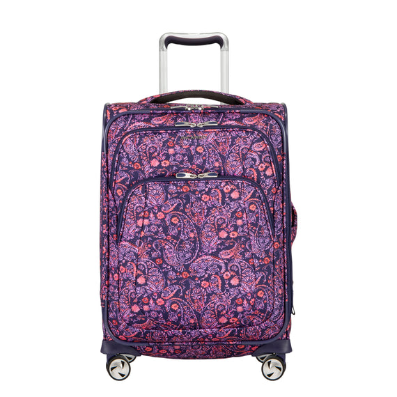 Carry-On Seahaven 20-Inch Carry-On Suitcase in Pink Paisley Front View in  in Color:Paisley Pink in  in Description:Front