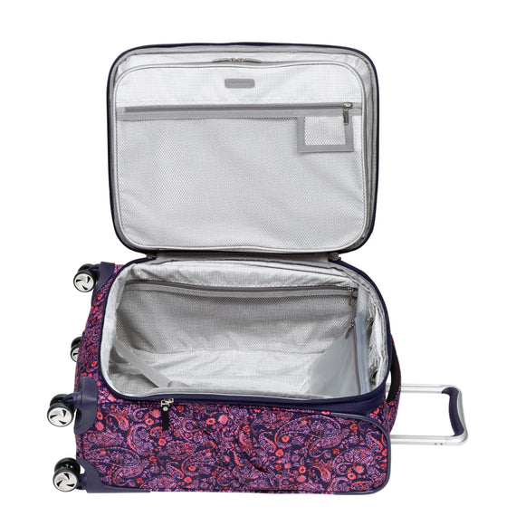 Carry-On Seahaven 20-Inch Carry-On Suitcase in Pink Paisley Open View in  in Color:Paisley Pink in  in Description:Opened