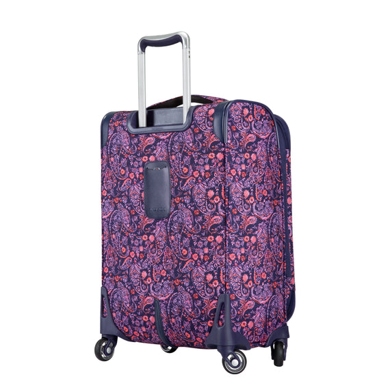 Carry-On Seahaven 20-Inch Carry-On Suitcase in Pink Paisley Back Angle View in  in Color:Paisley Pink in  in Description:Back Angle