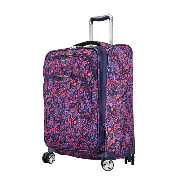 Carry-On Seahaven 20-Inch Carry-On Suitcase in Pink Paisley Quarter Front View in  in Color:Paisley Pink in  in Description:Angled View