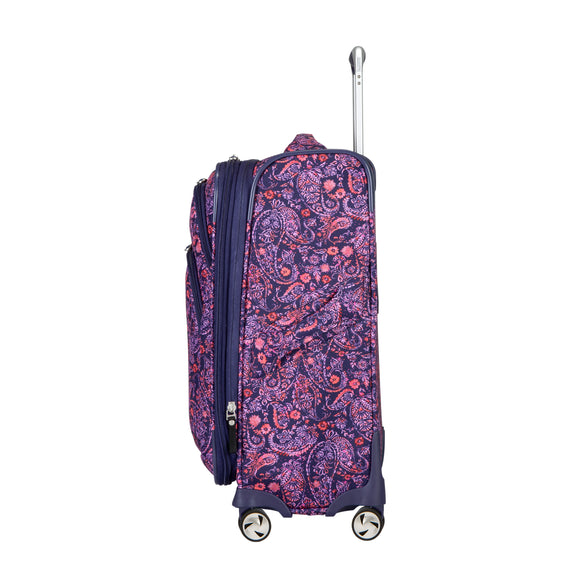 Carry-On Seahaven 20-Inch Carry-On Suitcase in Pink Paisley Side View in  in Color:Paisley Pink in  in Description:Side