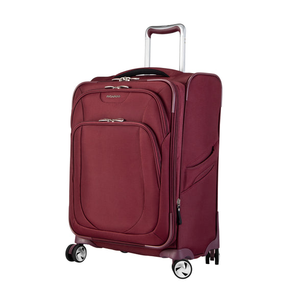 Carry-On Seahaven 20-Inch Carry-On Suitcase in Currant Quarter Front View in  in Color:Currant in  in Description:Angled View