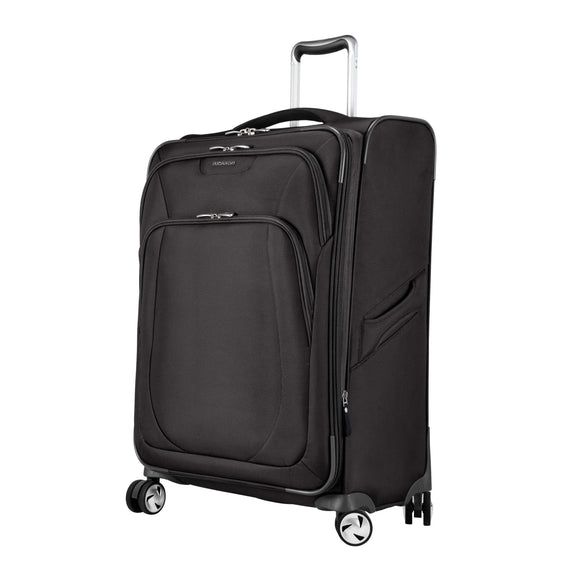 Medium Check-In Seahaven 25-inch Check-In Suitcase in Black Quarter Front View in  in Color:Black in  in Description:Angled View