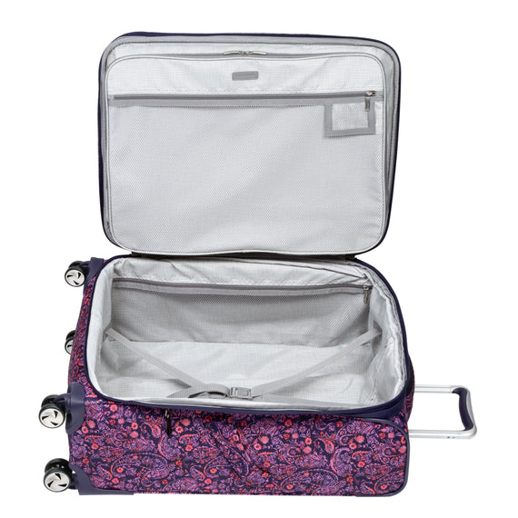 Medium Check-In Seahaven 25-inch Check-In Suitcase in Pink Paisley Open View in  in Color:Paisley Pink in  in Description:Opened