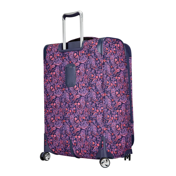 Medium Check-In Seahaven 25-inch Check-In Suitcase in Pink Paisley Back Angle View in  in Color:Paisley Pink in  in Description:Back Angle