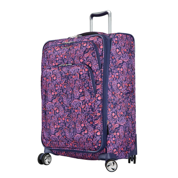 Medium Check-In Seahaven 25-inch Check-In Suitcase in Pink Paisley Quarter Front View in  in Color:Paisley Pink in  in Description:Angled View