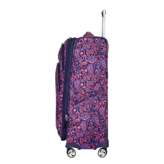Medium Check-In Seahaven 25-inch Check-In Suitcase in Pink Paisley Side View in  in Color:Paisley Pink in  in Description:Side