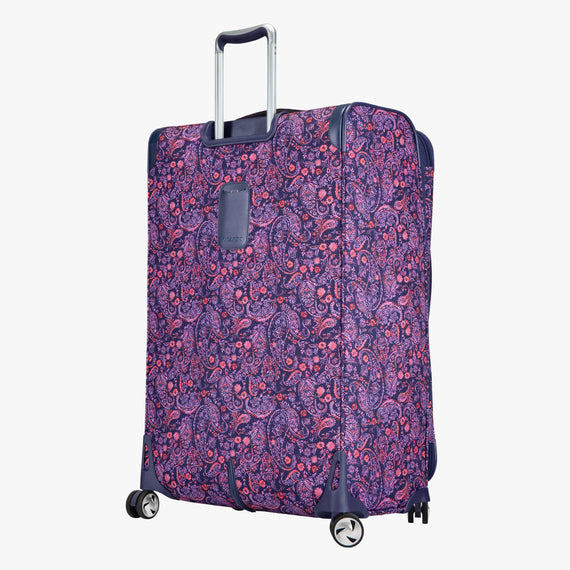 Large Check-in Seahaven 29-inch Check-In Suitcase in Pink Paisley Angled Back View in  in Color:Paisley Pink in  in Description:Back Angle
