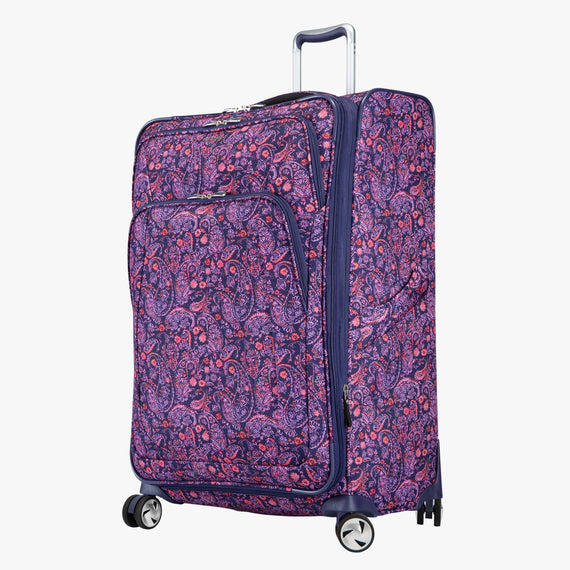 Large Check-in Seahaven 29-inch Check-In Suitcase in Pink Paisley Quarter Front View in  in Color:Paisley Pink in  in Description:Angled View