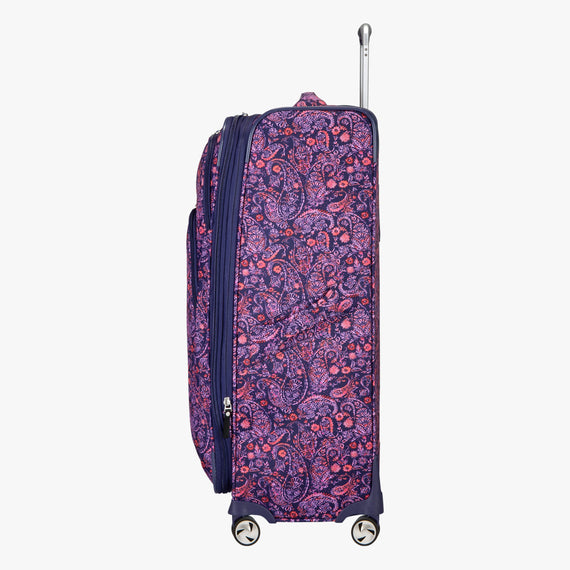 Large Check-in Seahaven 29-inch Check-In Suitcase in Pink Paisley Side View in  in Color:Paisley Pink in  in Description:Side
