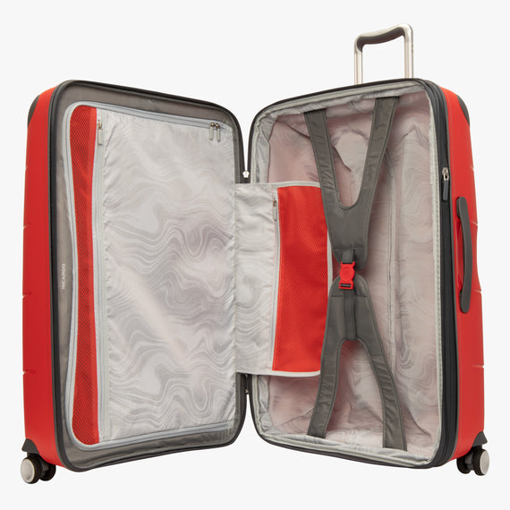 Large Check-In Mendocino 28-inch Check-in Suitcase in Fiery Red Opened View in  in Color:Fiery Red in  in Description:Opened