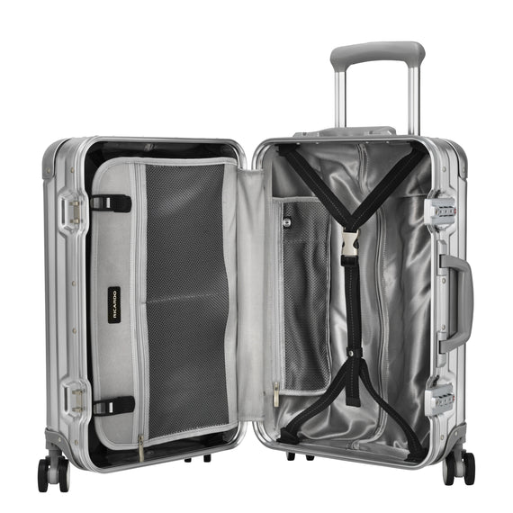 Carry-On Aileron Spinner Carry-On - 20-inch in Silver Open View in  in Color:Silver in  in Description:Opened