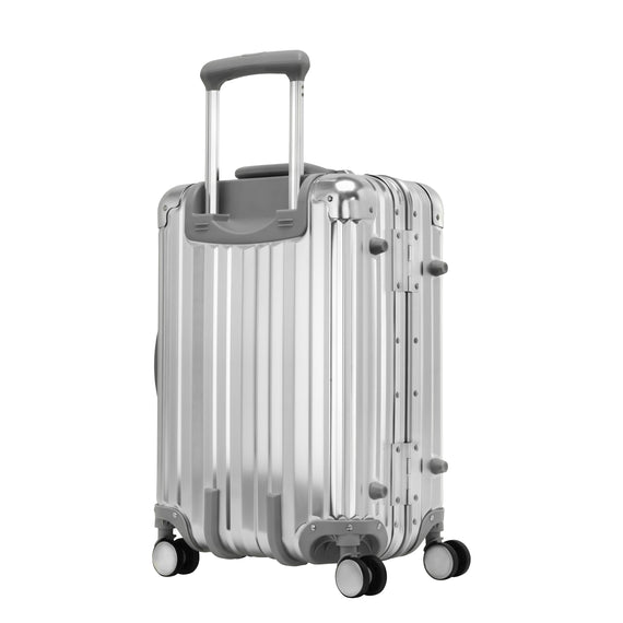 Carry-On Aileron Spinner Carry-On - 20-inch in Silver Back Quarter View in  in Color:Silver in  in Description:Back Angle