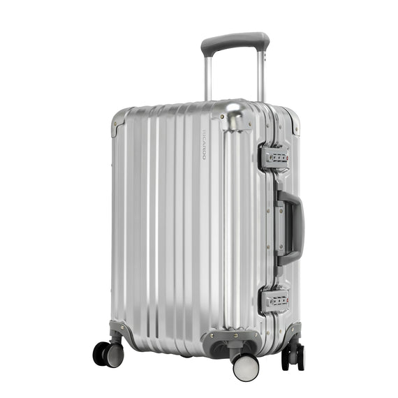 Carry-On Aileron Spinner Carry-On - 20-inch in Silver Front Quarter View in  in Color:Silver in  in Description:Angled View
