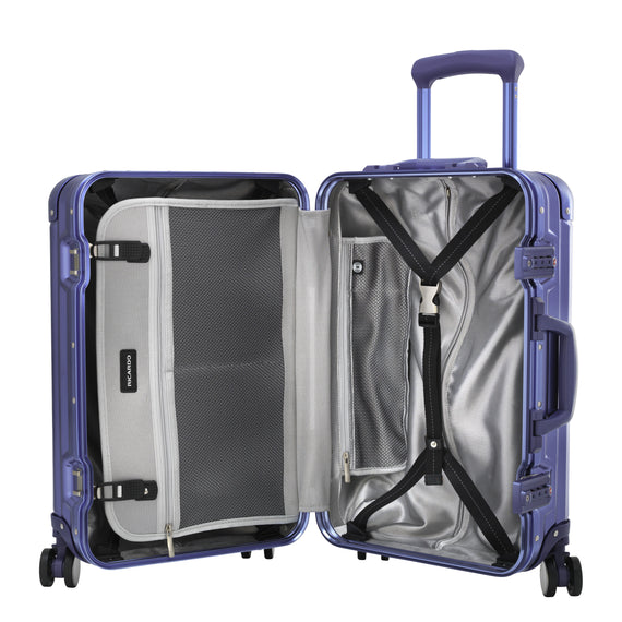 Carry-On Aileron Spinner Carry-On - 20-inch in Blue Open View in  in Color:Blue in  in Description:Opened