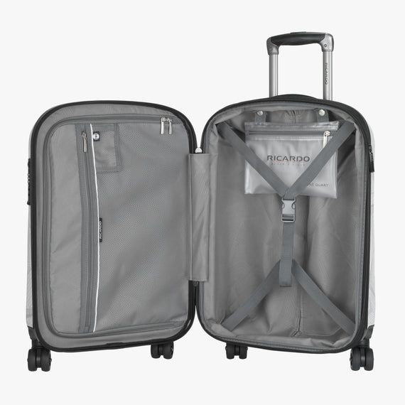 Carry-On Spectrum Carry-On Spinner luggage - 20-inch in White Open View in  in Color:White in  in Description:Opened