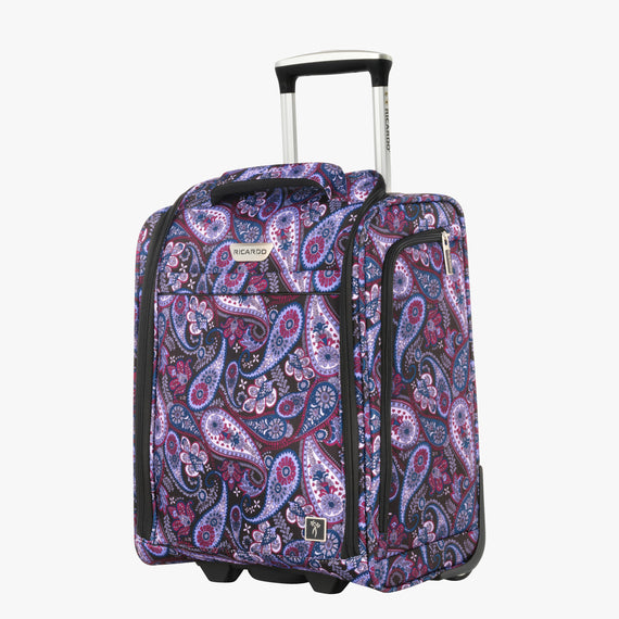 Small Carry-On Mar Vista 2.0 16-Inch 2-Wheel Under-Seat Carry-On in Midnight Paisley Front Quarter View in  in Color:Midnight Paisley in  in Description:Angled View