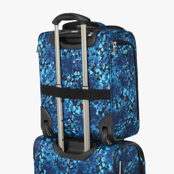 Small Carry-On Ricardo Beverly Hills 16-inch Under Seat Rolling Tote in Blue Floral in  in Color:Blue Floral in  in Description:Backstrap