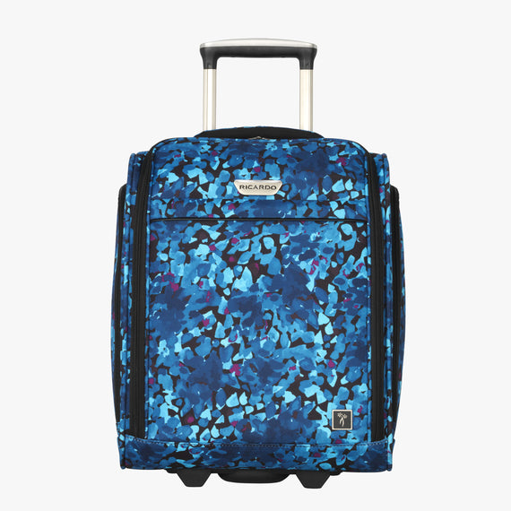 Small Carry-On Ricardo Beverly Hills 16-inch Under Seat Rolling Tote in Blue Floral in  in Color:Blue Floral in  in Description:Front