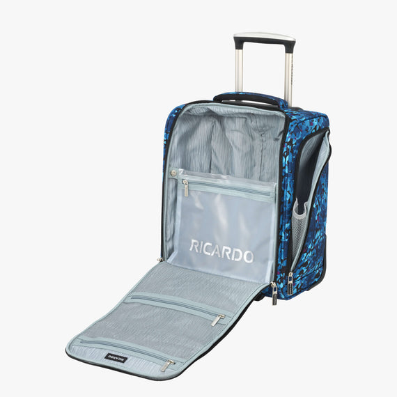 Small Carry-On Ricardo Beverly Hills 16-inch Under Seat Rolling Tote in Blue Floral in  in Color:Blue Floral in  in Description:Opened