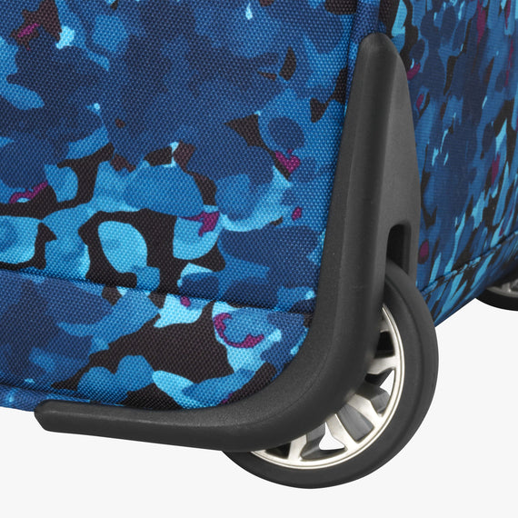 Small Carry-On Ricardo Beverly Hills 16-inch Under Seat Rolling Tote in Blue Floral in  in Color:Blue Floral in  in Description:Wheel Detail