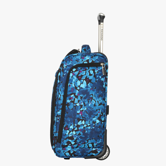 Small Carry-On Ricardo Beverly Hills 16-inch Under Seat Rolling Tote in Blue Floral in  in Color:Blue Floral in  in Description:Side