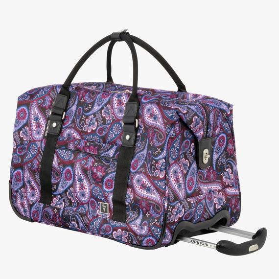 Weekender Rolling Duffel Mar Vista 2.0 Weekender Rolling Duffel in Midnight Paisley Front Quarter View in  in Color:Midnight Paisley in  in Description:Angled View