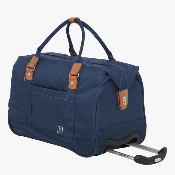 Weekender Rolling Duffel Mar Vista 2.0 Weekender Rolling Duffel in Moroccan Blue Front Quarter View in  in Color:Moroccan Blue in  in Description:Angled View