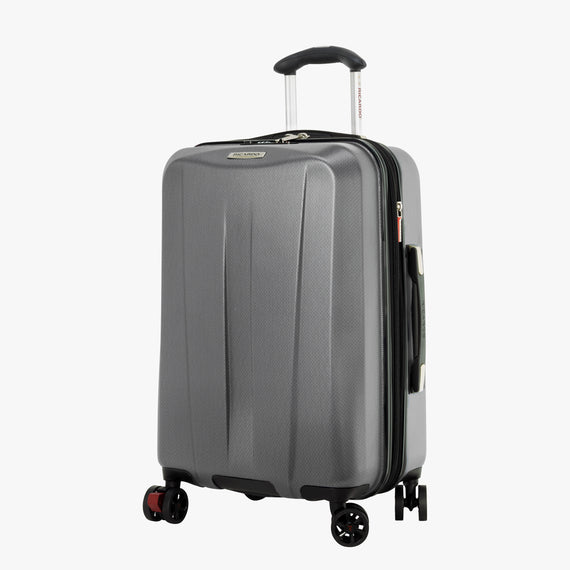 Carry-On San Clemente 21-Inch Carry-On Suitcase in Moon Silver Front Quarter View in  in Color:Moon Silver in  in Description:Angled View