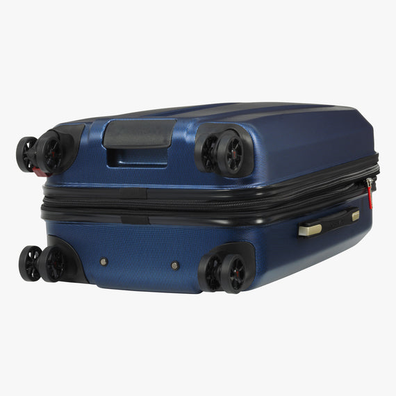Carry-On San Clemente 21-Inch Carry-On Suitcase in Stellar Navy Bottom View in  in Color:Stellar Navy in  in Description:Bottom