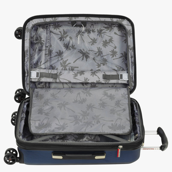 Carry-On San Clemente 21-Inch Carry-On Suitcase in Stellar Navy Alternate Open View in  in Color:Stellar Navy in  in Description:Open Detail