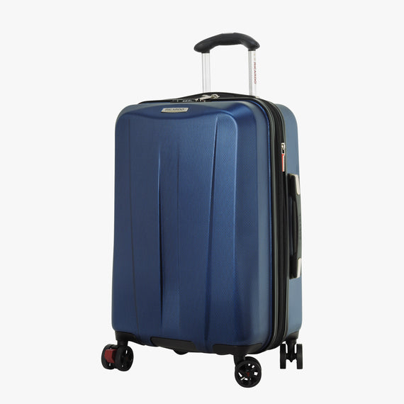 Carry-On San Clemente 21-Inch Carry-On Suitcase in Stellar Navy Front Quarter View in  in Color:Stellar Navy in  in Description:Angled View