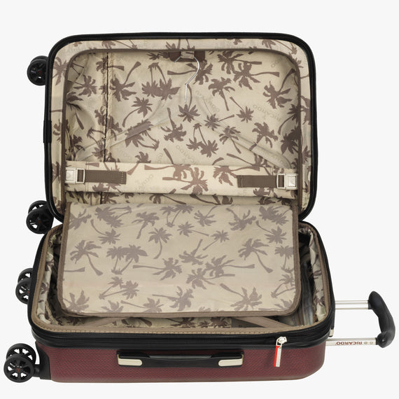Carry-On San Clemente 21-inch Carry-On Suitcase in Red Alternate Open View in  in Color:Red Cherry in  in Description:Open Detail