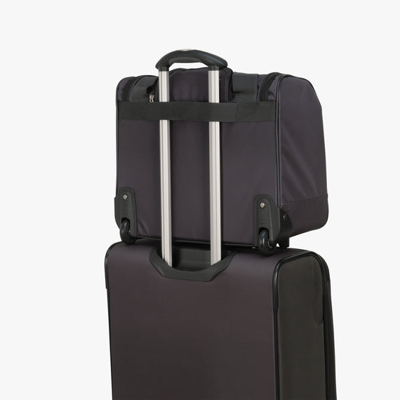 Small Carry-On Mar Vista Rolling Tote in Gray Feature View in  in Color:Graphite in  in Description:Backstrap