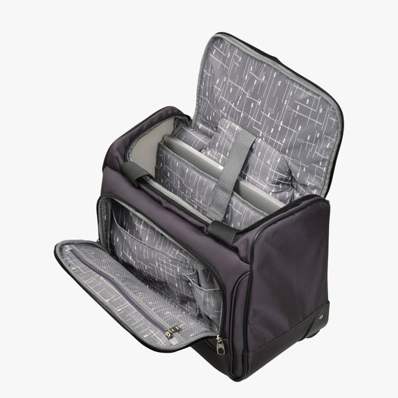 Small Carry-On Mar Vista Rolling Tote in Gray Alternate Open View in  in Color:Graphite in  in Description:Open Detail