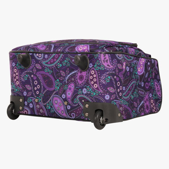 Small Carry-On Mar Vista 16-Inch 2-Wheel Under-Seat Carry-On in Purple Paisley Bottom View in  in Color:Purple Paisley in  in Description:Bottom
