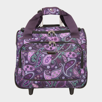 Mar Vista 16-Inch 2-Wheel Under-Seat Carry-On in Purple Paisley Front View~~Color:Purple Paisley~~Description:Front