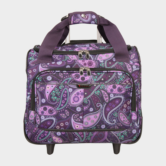 Small Carry-On Mar Vista 16-Inch 2-Wheel Under-Seat Carry-On in Purple Paisley Front View in  in Color:Purple Paisley in  in Description:Front