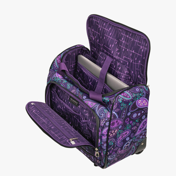 Small Carry-On Mar Vista 16-Inch 2-Wheel Under-Seat Carry-On in Purple Paisley Alternate Open View in  in Color:Purple Paisley in  in Description:Open Detail