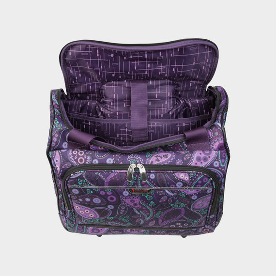 Small Carry-On Mar Vista 16-Inch 2-Wheel Under-Seat Carry-On in Purple Paisley Open View in  in Color:Purple Paisley in  in Description:Opened