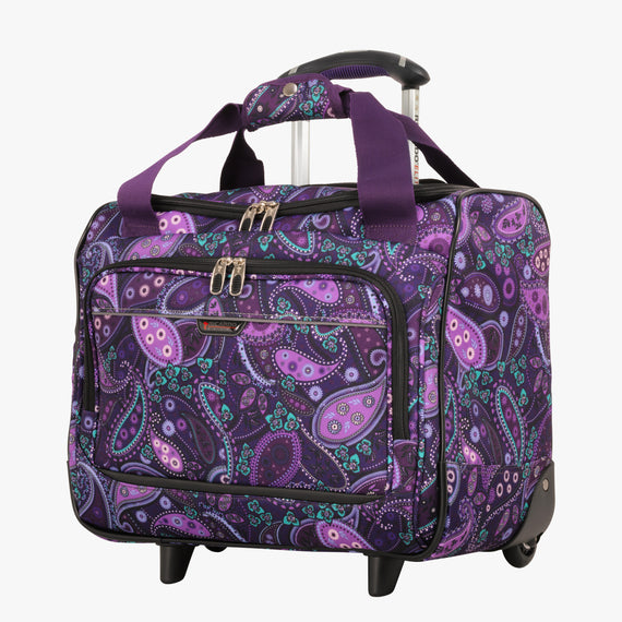Small Carry-On Mar Vista 16-Inch 2-Wheel Under-Seat Carry-On in Purple Paisley Front Quarter View in  in Color:Purple Paisley in  in Description:Angled View