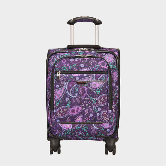International Carry-On Mar Vista Compact Carry-On Suitcase - 17-inch in Purple Paisley Front View in  in Color:Purple Paisley in  in Description:Front