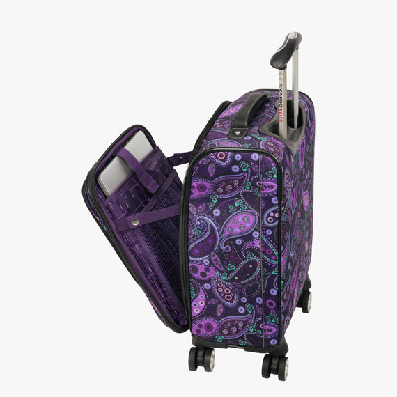 International Carry-On Mar Vista Compact Carry-On Suitcase - 17-inch in Purple Paisley Alternate Open View in  in Color:Purple Paisley in  in Description:Laptop Pocket