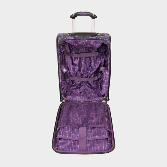 International Carry-On Mar Vista Compact Carry-On Suitcase - 17-inch in Purple Paisley Open View in  in Color:Purple Paisley in  in Description:Opened