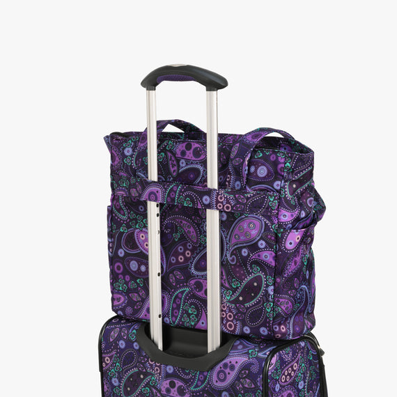 Travel Tote Mar Vista Travel Tote in Paisley Feature View in  in Color:Purple Paisley in  in Description:Backstrap