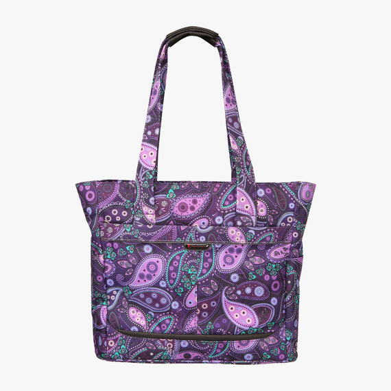 Travel Tote Mar Vista Travel Tote in Paisley Front View in  in Color:Purple Paisley in  in Description:Front