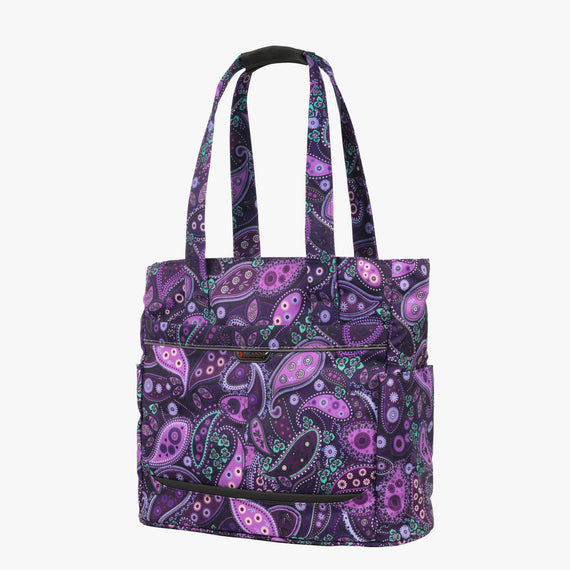 Travel Tote Mar Vista Travel Tote in Paisley Quarter View in  in Color:Purple Paisley in  in Description:Angled View