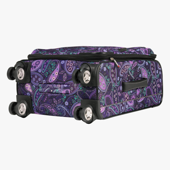 Carry-On Mar Vista 20-Inch Carry-On Suitcase in Purple Paisley Bottom View in  in Color:Purple Paisley in  in Description:Bottom